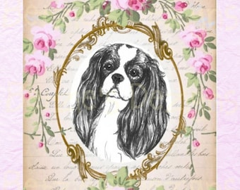 Cavalier King Charles Spaniel/Collage/Photo/Vintage/Print/Card/Roses