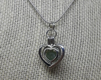 Heart Caged Green Sea Glass Pendant