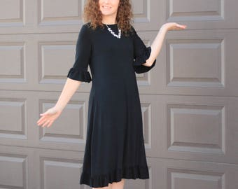 Dress - Little Black Dress - Casual AND Dressy - Swing Dress with Tie - Day to Night Look - Customizable - Modest Woman Clothes - Plus Size