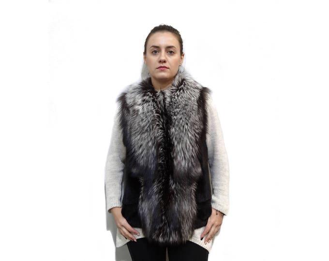 Real Mink & Silver Fox Fur Vest F303