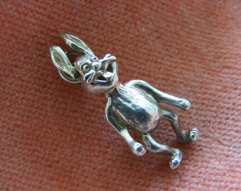Vintage Sterling Silver Charm Rabbit or Hare with moving ears