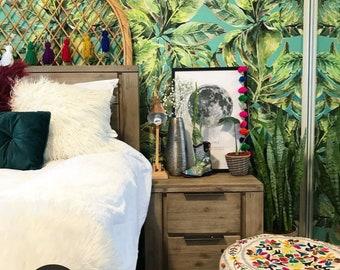Amazon Rainforest wallpaper    Self adhesive watercolor exotic wallpaper    Jungle plants pattern wall mural    Tropical flowers mural  #33