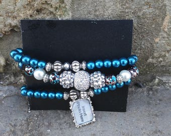 Blue and Silver Beaded Charm Bracelets
