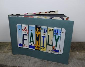 Extra große Leder-Fotoalbum Familie Recycling Kfz-Kennzeichen