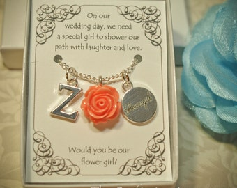 Personalized Flower Girl Necklace with Birthstone and Initial -- FG04 -- Choose Your Color -- Flower Girl Necklace -- Flower Girl Gift