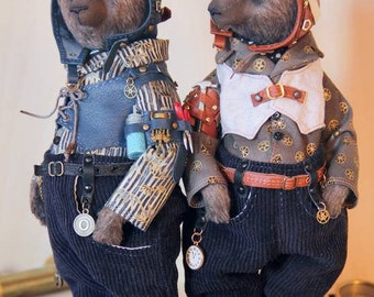 Steampunk teddy bears avaitors Martin or Oliver
