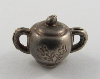 Sugar Bowl With Flower Design Sterling Silver Silver Vintage Charm For Bracelet