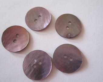 Boutons nacre rond violet 17mm