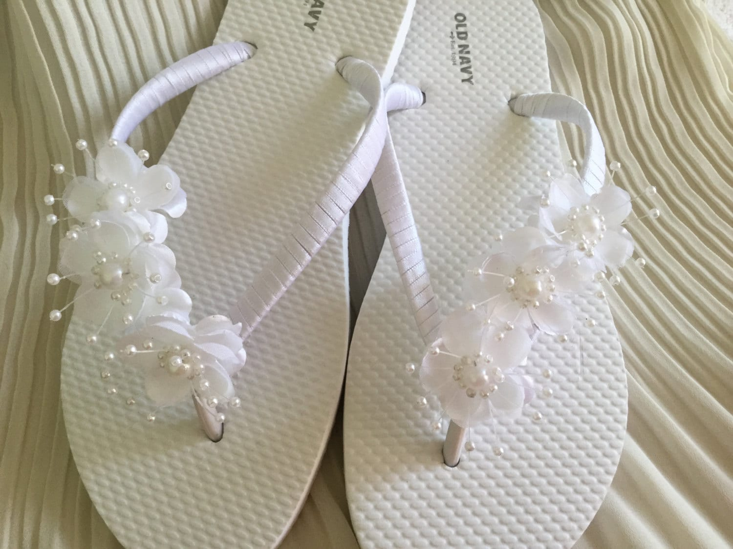 Bridal Flip Flops White Flower Wedding Sandals Flower Flip