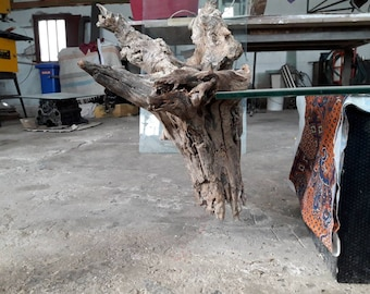 Olive tree roots glass iron and resin unfinished table furniture