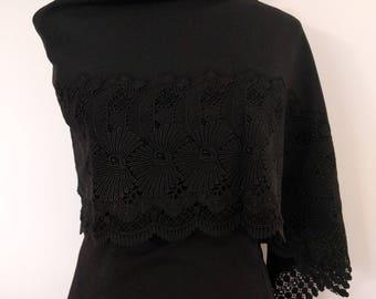 Black chirimen crepe and lace kimono shawl wrap - vintage