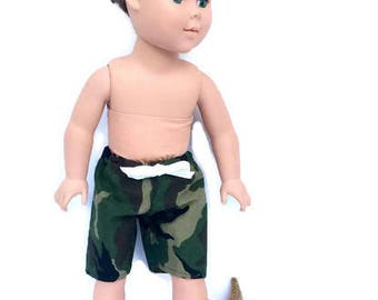 18 Inch Boy Doll Swim Trunks, Boardshorts, Camo Shorts, Boy Doll Swim Suit, 18 Inch Doll Clothes, Summer Doll Clothes,
