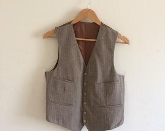 Vintage Brown Waistcoat with stripes/ Mens Vests/ Size 40 Med