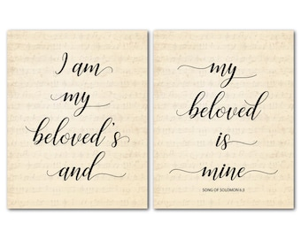 Anniversary Wedding Gift - I am my beloved's and my beloved is mine - Song of Solomon PRINT Duo - Scripture couples art