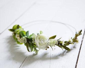 Simple Cream+Succulent+Greenery Flower Crown
