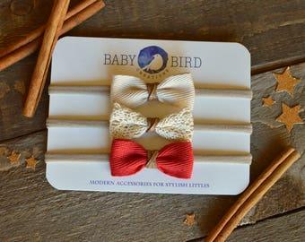 Baby Girl Headband, Baby Headband, Newborn Headband, Nylon Baby Headband, Red Baby Headband, Beige Baby Headband, Lace Baby Headband