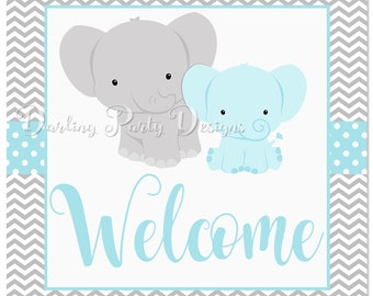 Elephant Baby Shower Welcome Sign, Elephant Baby Shower, Little Peanut Baby Shower, Boys Baby Shower, INSTANT DOWNLOAD