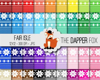 Rainbow Nordic Fair Isle Digital Paper Pack - INSTANT DOWNLOAD - 12x12 - 36 colours - Christmas sweater