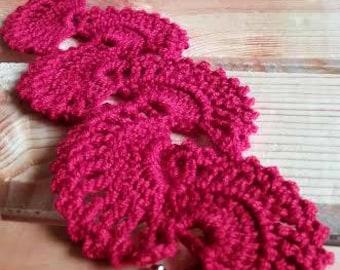 Red Crochet Lace Fan Bracelet