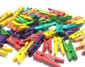 """50pc mini clothepins multicolor - Miniature Clothes Pins for Crafts, Scrapbooking and Garlands - Natural Wood 1"""" Inch"""