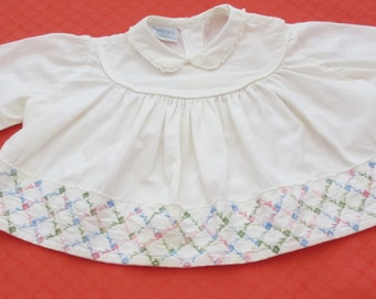 Pemay White Baby Blouse All Cotton Embroidered with Peter Pan Collar