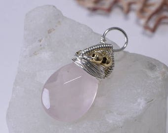 Amethyst Teardrop  Wire Wrapped Briolette Add Dangle Gemstone Briolette Wire Wrapped Pendant
