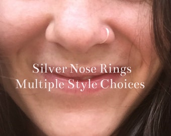 Silver Nose Ring 20G 22G 24G 6mm 9mm 11mm 13mm Silver Nose Hoop Ring