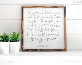 May the Lord bless you and keep you | FREE SHIPPING | Farmhouse Wood Sign | Scripture | 12x12 | 23x23 | 29x29 | 35x35