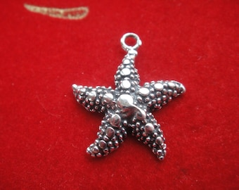 925 sterling silver oxidized starfish charm 1 pc., starfish charm,starfish, silver starfish, sea life