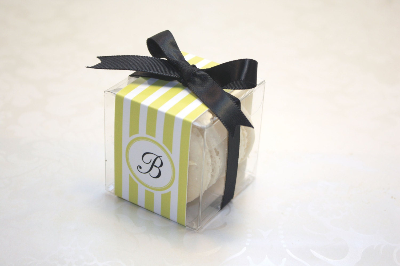 Grey French Macaron Boxes, Grey Ties, Wedding Favor Boxes - 24 Grey ...