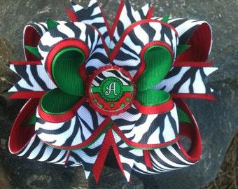 Christmas.Zebra Personalized Initial Bottlecap Hairbow