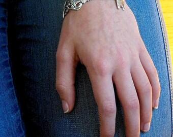 Key Bracelet - Skeleton Key Jewelry, Victorian Bracelet, Steampunk Key, Silver Bracelet