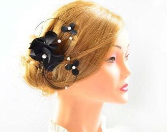 Black and white floral headpiece Halloween fascinator Black fascinator Black headpiece Bridesmaid headpiece Wedding hair clip