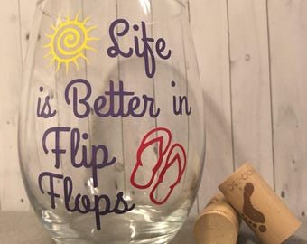 flip flop wine glass, beach wine glass, Christmas gifts, gifts for her, personalized summer wine glass