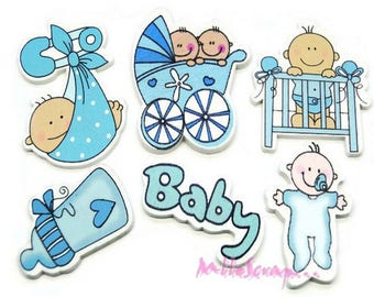 """Set of 6 embellishments special """"baby boy"""" blue wood scrapbooking.*"""