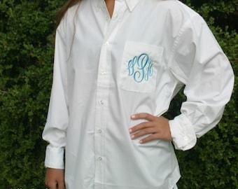 Monogrammed Bride or Bridesmaid Oxford Shirt -  Getting Ready Shirt