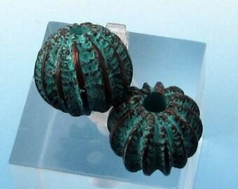 Sea Urchin Bead, Greek Casting, Green Patina, 13x11 MM,  2 Pieces, M367