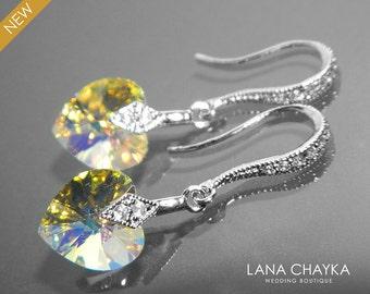 Aurora Borealis Heart Crystal Small Earrings AB Silver Crystal Wedding Earrings Swarovski 10mm Crystal Heart Dangle Earrings Bridal Jewelry