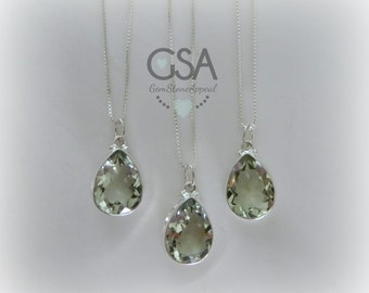 Green Amethyst Necklace//Amethyst Pendant//Prasiolite Necklace//Layering Necklace//February Birthstone//Genuine Green Prasiolite Amethyst