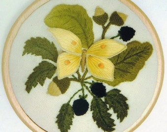 Brimstone Butterfly and Blackberries- crewelwork and stumpwork embroidery