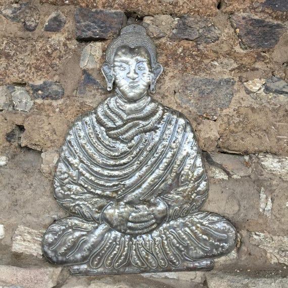 "Haiti Recycled Metal Buddha 13.5"" x 17"""