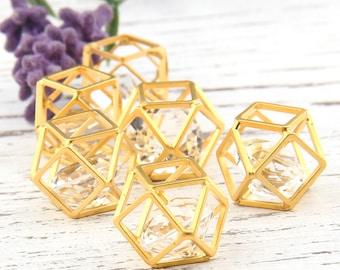 Gold Hexagon Cube Pendant with a Diamond Shaped Acrylic, Geometric Pendant, 15mm, 1 piece // GP-464