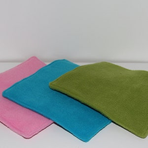 Guinea Pig Fleece Cube Inserts, Set of 3 Hedgehog Cosy Pads, Absorbent Reusable Liners, Pick Your Own Colour