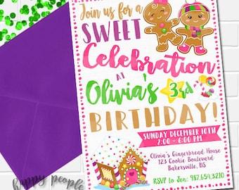 Gingerbread Invitation, Gingerbread Party, Girl Gingerbread Birthday Invitation, Gingerbread Cookie Invite, Gingerbread Invites, Decorating