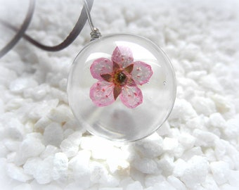 Necklace Peach Flower Glass pendant beads