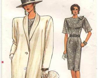 Vogue 9653 Size 8, 10, 12.  Women's sewing pattern: Very Easy Vogue, short sleeve, pencil skirt dress with back slit, straight long jacket