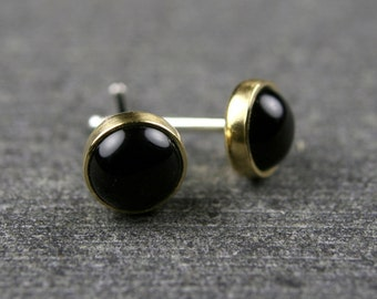 Black onyx studs bezel set in 18k yellow gold 5mm