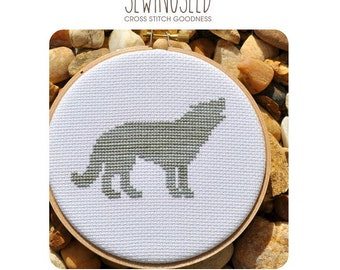 Wolf Silhouette Cross Stitch Pattern Instant Download