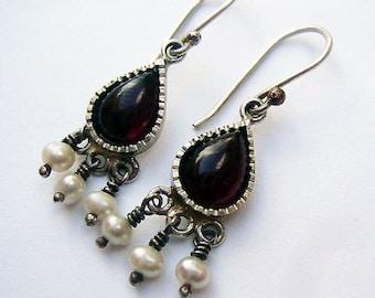 Garnet and Pearl Earrings,  Handmade Earrings, Sterling Silver Dangle Earrings, Israeli Earrings, Teardrop Earrings