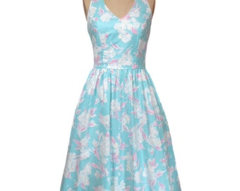 vintage 1980's LANZ floral dress / cotton / pastel preppy / 1980s does 1950s / sundress / summer dress / women's vintage dress / tag size 8